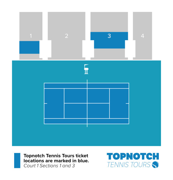 Seating map of Court 1 at the 2021 Miami Open showing Topnotch Tennis Tours seating locations in sections 1 and 3.