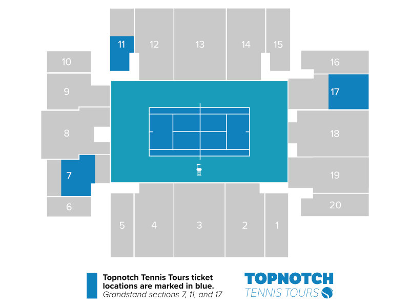 Miami Open Grandstand seating map for 2021 displaying Topnotch Tennis Tours ticket locations in sections 7, 11, and 17