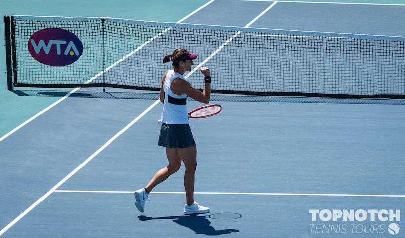 Caroline Garcia celebrates at the 2019 Miami Open.