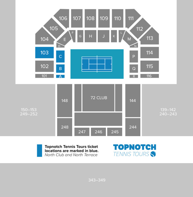 A map of the Miami Open's main stadium displaying Topnotch Tennis Tours seating locations.